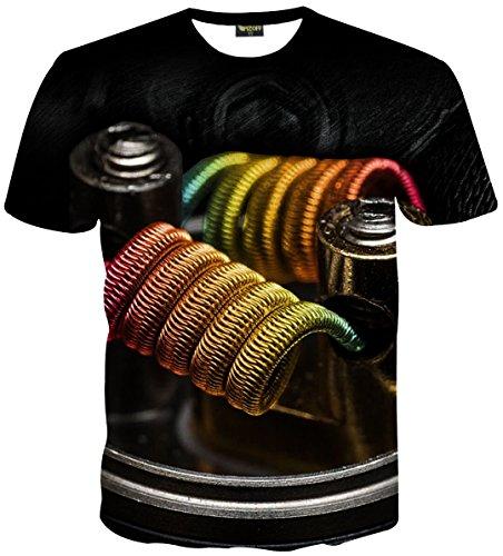 Hat 3d-puff (Pizoff Unisex Digital Print Schmale Passform T Shirts mit bunt Elektrische Zigarette VAPE VAPOR Wirbel 3D Druckmuster Y1814-01-S)
