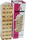 OMOVI Jenga (Tumbling Tower) 51 Pieces Numbered Wooden Block Stacking Game with 4