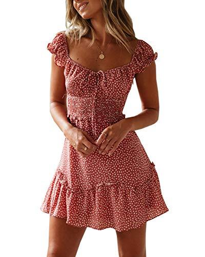 Ybenlover Damen Blumen Sommerkleid High Waist Volant Kleid Vintage Minikleid Strandkleid (XXL, Blau)