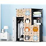 SEVVY – DIY Portable Clothes Wardrobe Foldable Organizer with Doors. 12 Cube Collapsible Kids Cloth Wardrobe – Black Panels with Fancy Designed Doors.