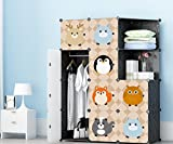 #3: SEVVY – DIY Portable Clothes Wardrobe Foldable Organizer with Doors. 12 Cube Collapsible Kids Cloth Wardrobe – Black Panels with Fancy Designed Doors.