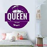 ganlanshu Adesivo in Vinile da Parete per Camera da Letto con Logo Queen's Labels per Ragazza Adesivo Bocca Rimovibile Wall Sticker Art murale 63cmx66cm