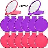 24 Stücke Mini Klappspiegel Kompakte Tragbare Runde Spiegel Kosmetikspiegel für Frauen Mädchen Reise Täglichen Gebrauch, 2 Farben (Rosa, Lila)