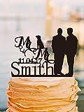 Max345Gall Lot de 2 Figurines de gâteau de Mariage personnalisées avec nom et Date avec Chien Gay pour 2 Hommes