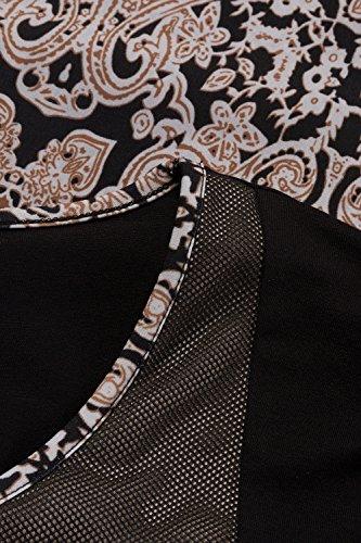 Ulla Popken Femme Grandes tailles Robe imprimée cocktail manches 3/4 extensible élastiquée 707498 Multicolore