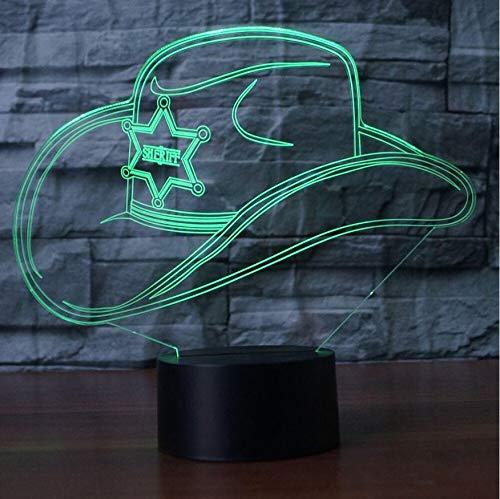 ative 3D Bunte Led Gradienten Cowboy Hut Nachtlicht Kappe Usb Kinder Schlaf Schlafzimmer Nacht Dekor Dekor Leuchten Schreibtisch Tischlampe ()