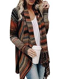 MYSHOW Mujer Elegante Poncho de Punto Colorido Patrón con Flecos de Manga  Larga Chaqueta de Punto a676946c1657