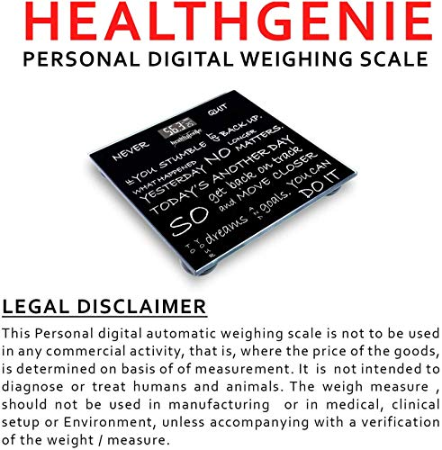 Healthgenie Thick Glass body digital weighing scale,personal bathroom weighing scale for body weight (Never Quit)