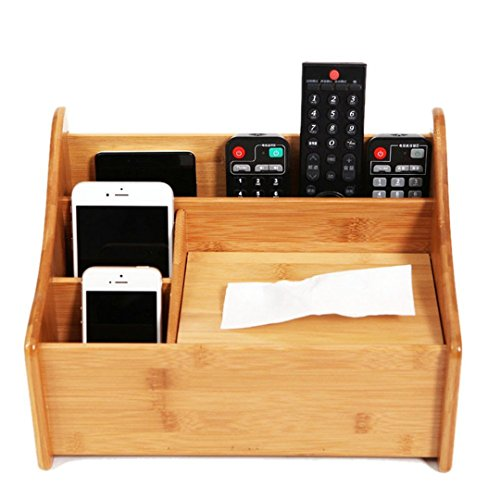 Roseflower multifunzionale organizzatore da scrivania porta oggetti organizer tavolo con 4 scomparti - porta telecomandi universale in bambù per l' aria condizionata, telecomando tv, dvd