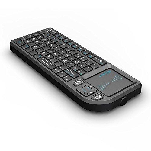 Rii Mini Clavier K01X1 sans Fil(AZERTY) 2,4 Ghz avec Touchpad pour PC, Pad, Xbox 360, PS3, TV Box Google Android, HTPC, IPTV.