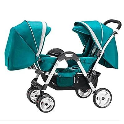 Cochecito de bebé de los gemelos Carritos con capazo Plegable de viaje Cuatro ruedas Evite las vibraciones Puede sentarse y acostarse Multifuncional Persona que practica jogging Cochecito de bebé