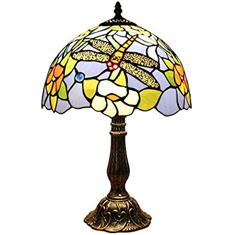 Bieye L30024 12-inches Dragonfly Tiffany Style Stained Glass Table Lamp with Zinc Base, 18-inches Tall
