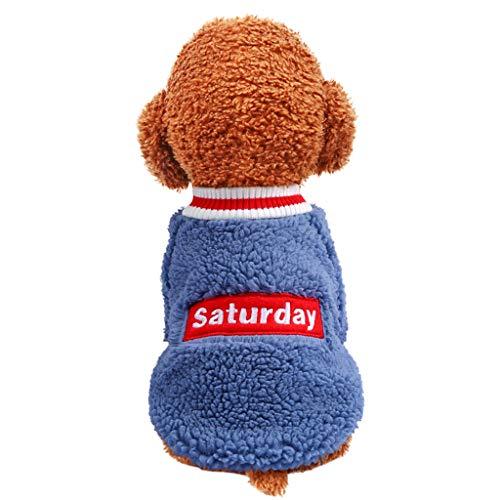 Hunpta@ Pet Hundemantel Jacke Hundepullover,Neue Haustier Lamm Samt T Shirt Herbst Und Winter Mode Haustier Katzen Hundekleidung Wintermantel Winterjacke(Blau,M) (Blau Lamm Kostüm)