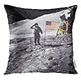 jiilwkie Throw Pillow Cover Flag Astronaut on Lunar Moon Landing Mission of This Furnished by NASA Space Shuttle Decorative Pillow Case Home Decor Square 18x18 Inches Pillowcase