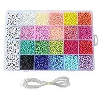 FunPa Glaskralen set, 24 grid glaskralen DIY handwerk zaden kralen met touw voor kinderen DIY armbanden kunst & sieraden maken halskettingen oorring party accessoires