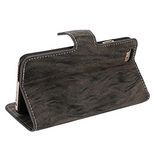 Bestmall für iphone 6 6G 4.7 Luxus Leder Hülle Ledertasche Case cover schützhülle schützcase Flip Case mit Kartenfächern Dark Grau XCPT18C Dark Grau