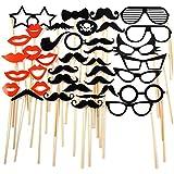 Pixnor Accessoires Photobooth Masquerade Accessoires lunettes DIY Moustache lèvres rouges pour la fête d'anniversaire de mariage - 38 pièces