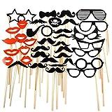 Tinksky Foto Booth Props 38pcs DIY Gläser Schnurrbart roten Lippen Bogen bindet auf Sticks Hochzeit Geburtstag Party Photo Booth Props