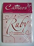 Einladungskarten zur Rubinhochzeit, mit Umschlag, Englischsprachig, 6 Stück
