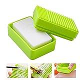 FOONEE 2in 1Silikon Make-up Pinselreiniger Seife Box, Kosmetik Pinselreiniger Pad Gummimatte Handschuh Reinigen Scrubber mit Schwammauflage Seife Aufbewahrungsbox Grün