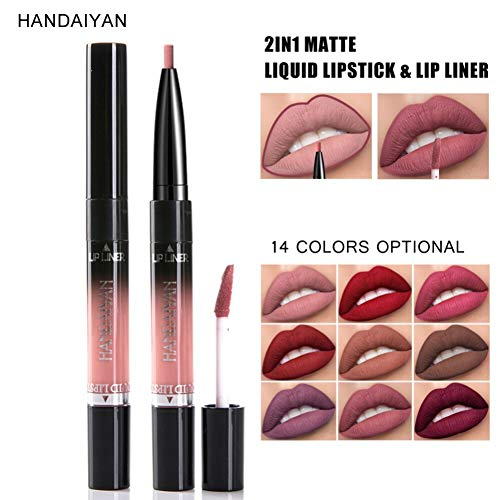 NOTE Double-end Matte Liquid Lipstick Lip Liner Makeup Waterproof Matte Lipstick Pencil -