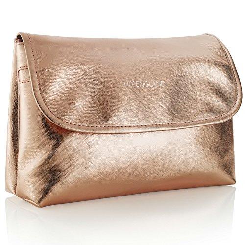 Lily England groß Kulturbeutel für Damen - Kosmetiktasche, Waschtasche & Kulturtasche für Frauen in Rosegold England Rosen