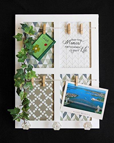 Memoboard Memotafel mit Schriftzug 38cm 20457 Weiß Shabby Pinnwand mit 3 Haken