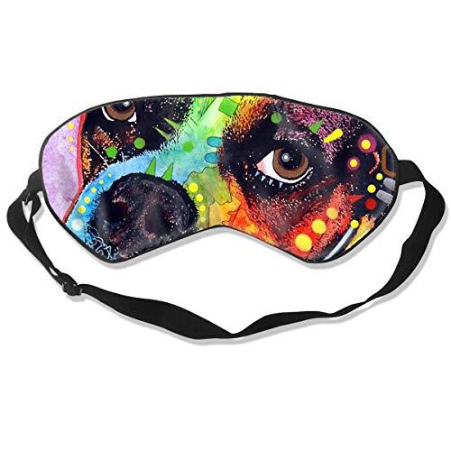 Schlafmaske, Augenmaske, ultra-weich, natürlicher Seidenstoff und Baumwolle, gefüllt, Schlafmaske mit verstellbarem Gurt, für Herren, Frauen und Kinder, bunte Boxer Hund