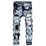Geili Herren Jeanshosen Biker Lang Destroyed Jeans Hose Vintage Used Look Wasserwäsche Regular Fit Straight Denim Hose Große Größen Stretch Arbeitshose Cargohose für Männer