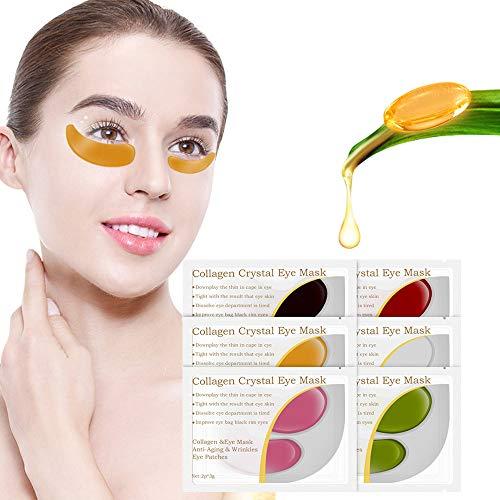 Augenpads, Mifine Eye Mask Collagen Augenpflege mit Hyaluron, Kollagen Anti Aging Maske Falten Pflege, Feuchtigkeit spendende, entfernen Taschen, dunkle Kreise & Puffiness Eye Pads 6 Pcs