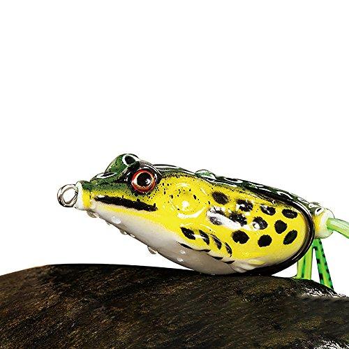 4x Soft Rubber Frog Angelköder Bass Spinner Köder Einzelhaken Crankbaits 8 cm