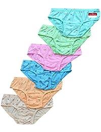 Pride Apparel New Womens Brief Multi Print Cool Cotton Panties (Pack of 6)
