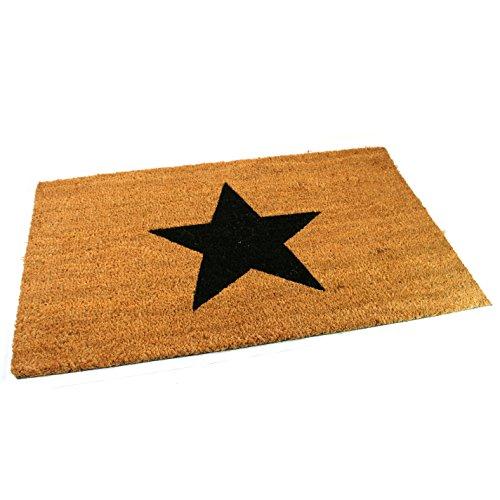 Black Ginger, Türmatten, aus Kokosfaser, dick und dekorativ, gemustert im Naturdesign Schwarzer Star