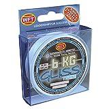 WFT Gliss KG Monotex Line 150m, geflochtene Schnur, Meeresschnur, Angelschnur, Geflechtschnur, Farbe:Transparent, Durchmesser/Tragkraft:0.25mm/19kg Tragkraft