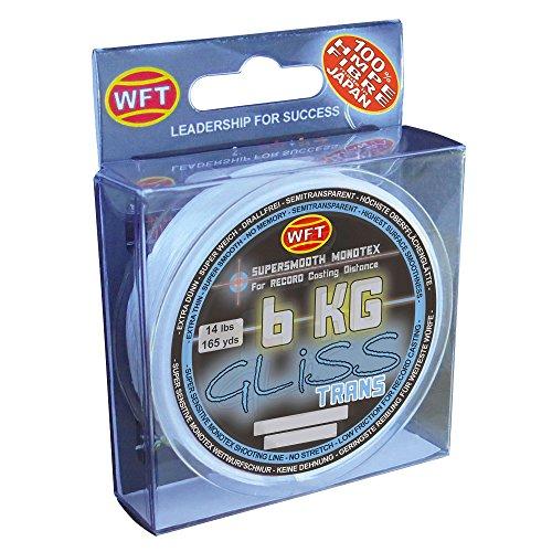 WFT Gliss KG Monotex Line 150m, geflochtene Schnur, Meeresschnur, Angelschnur, Geflechtschnur, Farbe:Transparent;Durchmesser/Tragkraft:0.14mm /8kg Tragkraft