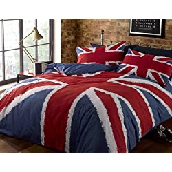 Rapport Single Bettbezug & P/Fall Bett Navy-Blau Rot Union Jack Bedruckte Bettwäsche Set