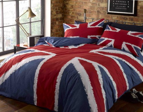Rock N Roll Union Jack Rouge, Blanc et Bleu de l'Union Jack Simple Housse de Couette. 135cm x 200cm....