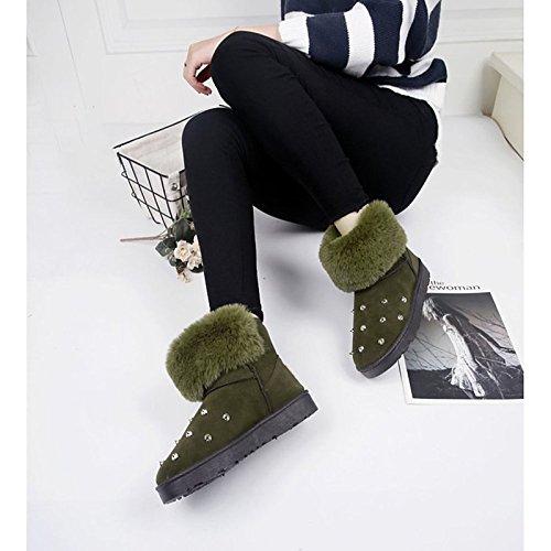 HSXZ Scarpe donna pu inverno Comfort stivali Null rotonda piatta Mid-Calf Toe Stivali / per esterni di Colore Verde Nero Grigio Black