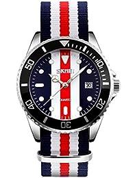 TOPCABIN Men's British Style Japan Movement Quartz Business Casual Sport Wristwatch Mens Silver Tone Classic Fashion Luxury Waterproof Ballistic Nylon Band Dress Watches with Calendar Style 4