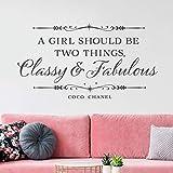 Una ragazza dovrebbe essere due cose elegante e meraviglioso vinile grigio citazione citazione parete camera da letto casa camera da letto decorazione 77x42cm