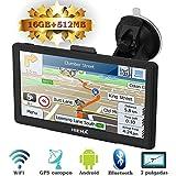 Hieha GPS Navegador WIFI Bluetooth para Coche y Camión Pantalla Capacitiva de 7 Pulgadas Navegación Europeo Asistente de Tráfico POI 800*400 Luz Ajustable 1500mAh 16 GB + 512MB Sistema de Android OS en Español