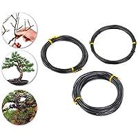 DSstyles 3 PiecesDS 10m Bonsai Wire Herramientas de Entrenamiento Bonsai Craft Alambre de Aluminio - Negro (1.0 mm / 1.5 mm / 2.0 mm, 10m para cada tamaño)