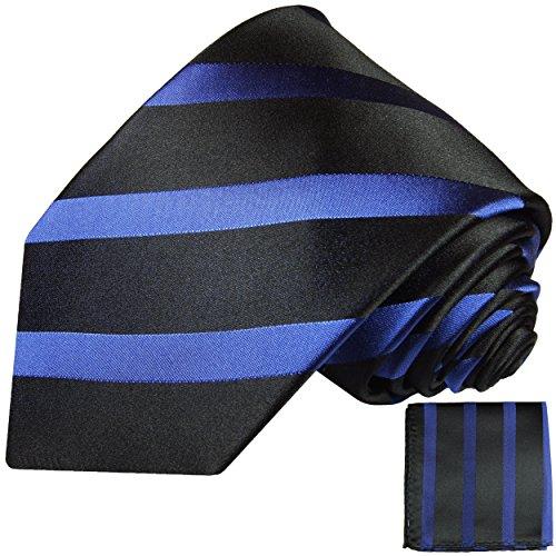 Cravate homme noire bleu rayé ensemble de cravate 2 Pièces ( 100% Soie Cravate + Mouchoir )