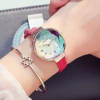 HK Reloj de Cuarzo Impermeable Casual de Moda Simple de Mujer,Rosa roja