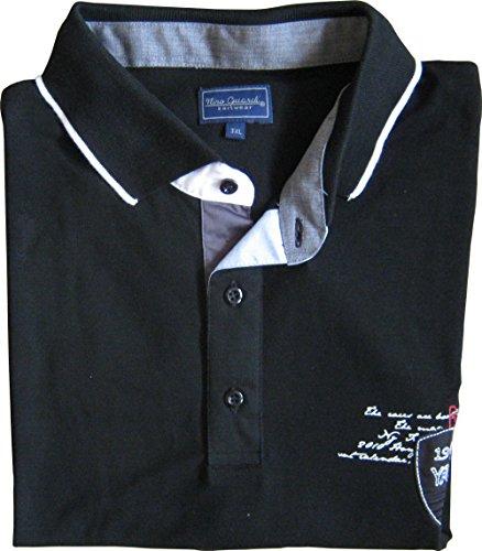 ÜBERGRÖßEN Polo Shirt von Nino Guardi, Uni, Logo Schwarz