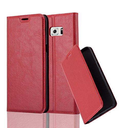 Cadorabo Hülle für Samsung Galaxy S6 Edge Plus - Hülle in Apfel ROT – Handyhülle mit Magnetverschluss, Standfunktion und Kartenfach - Case Cover Schutzhülle Etui Tasche Book Klapp Style