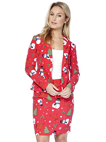 Opposuits Weihnachtsanzüge für Frauen besteht aus Sakko und Rock