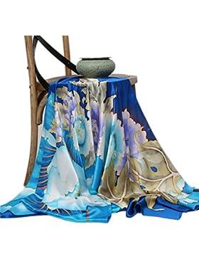 Prettystern - china pincel de pintura sobre seda fina - a mano 180cm pañuelo de seda - Pfingsterose rosa - la...