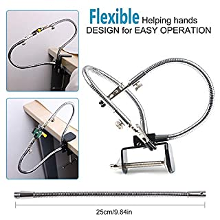 Flexible Helping Hands, Third Hand, Soldering Iron Accessory Tool Kits Simple Design (Two Flexible Unusual Arms, 5cm Pinch Clip Adjustable Maximum Space, Simple Design for Easy Operation) B Style by LITEBEE ( sliver )
