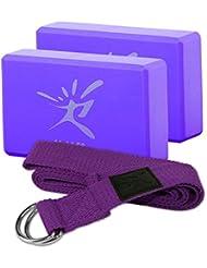 Yoga Block / Yogaklotz / Yogabrick aus EVA Schaumstoff - 2 Yogablöcke 1 Band, Ideal für Fitness, Yoga-Übung, Körperhaltung - Maße: 22.8 × 15.2 × 7.6cm